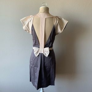 French Connection Gray & Pink Dress w/ Bow Detail